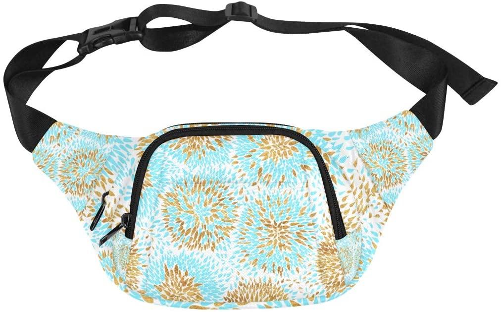 Men Waist Bag Golden Colorful Art Fashion Line Adjustable Belt Waterproof Nylon Fenny Pack Travel Fanny Pack Canvas Waist Bag Waist Back Pack