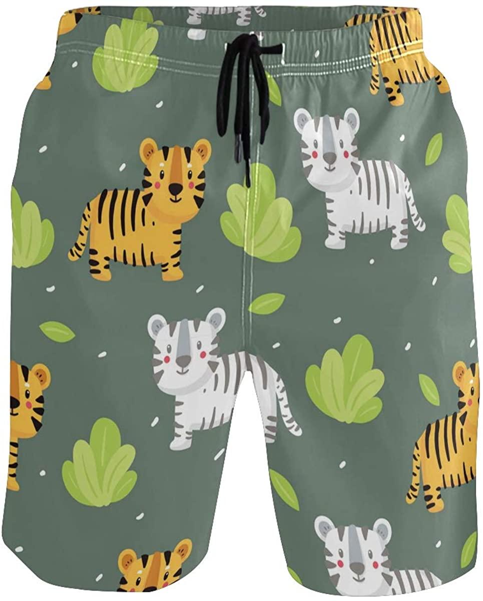 Mens Swim Trunks Quick Dry Tiger Beach Swimwear Shorts with Pocket