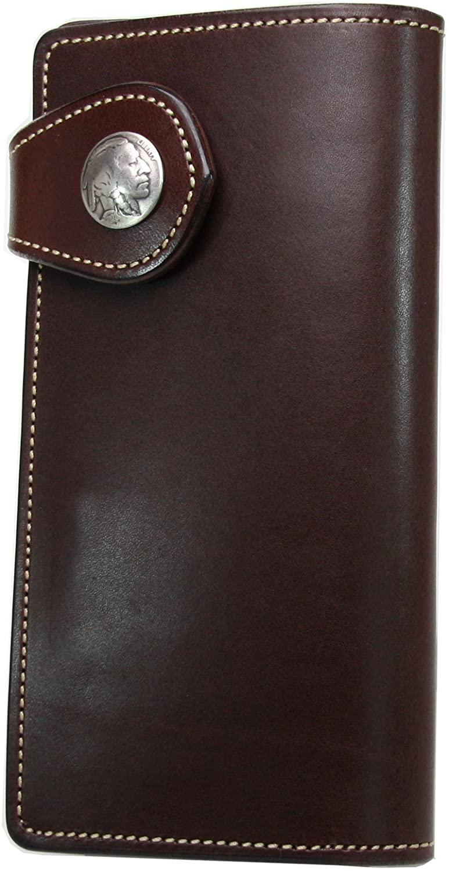 KC,s Leather Craft Long Wallet Standard Flap Cowhide Color Brown Handmade in Japan