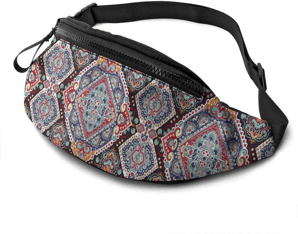Vibrant Vintage Framework Bohemian Fanny Pack for Men Women Waist Pack Bag with Headphone Jack and Zipper Pockets Adjustable Straps