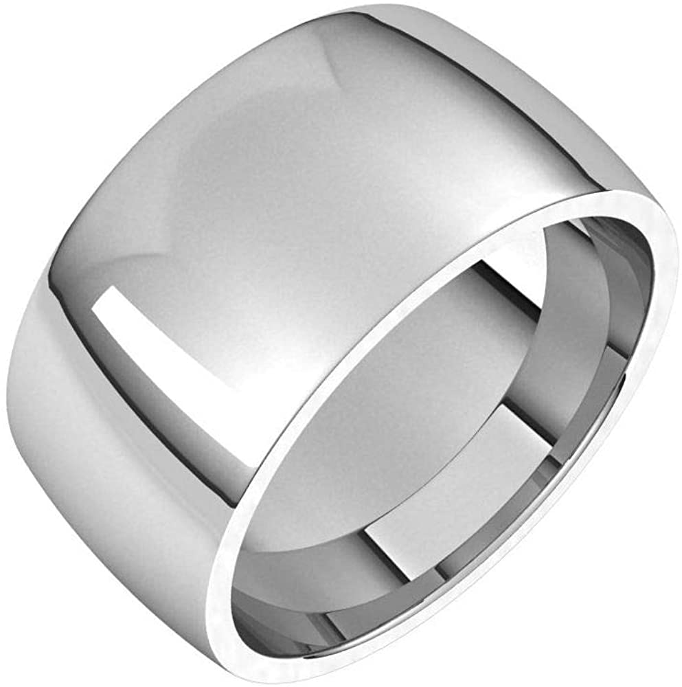 Solid 18K White Gold 10mm Half Round Comfort Fit Light Wedding Band Size 12