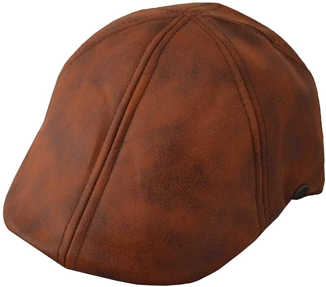 Epoch Mens Leather Feel IVY newsboy duckbill Cap Hat Tan