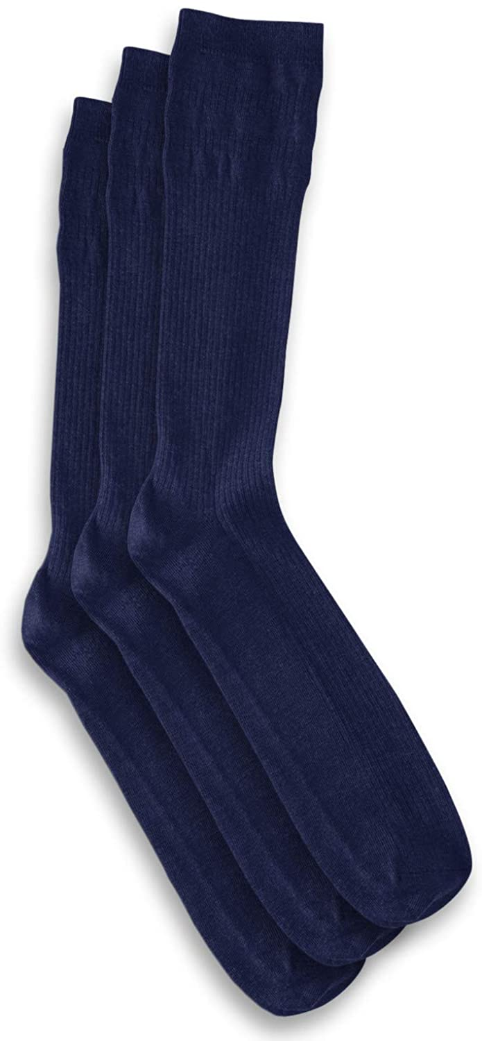 Harbor Bay by DXL Big and Tall Non-Elastic Crew Socks 3-Pack