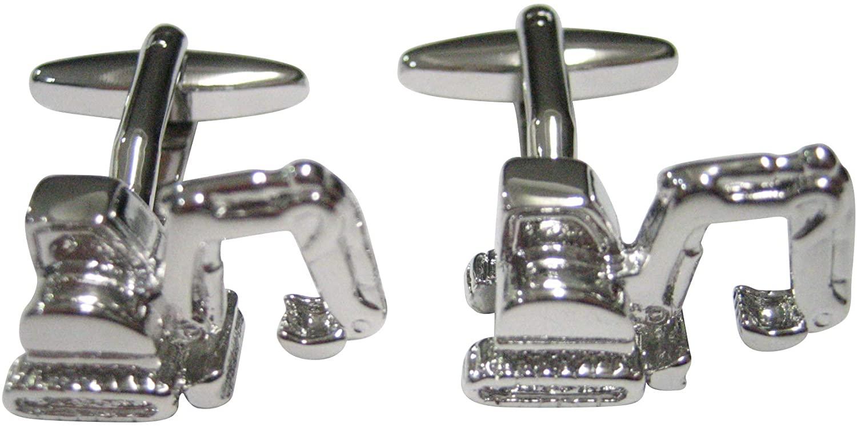 Kiola Designs Silver Toned Excavator Heavy Machinery Cufflinks