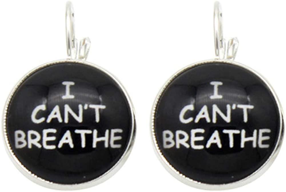 VASTAIR I Cant Breathe Black Lives Matter Fist Symbol Earrings Round Ear Decor