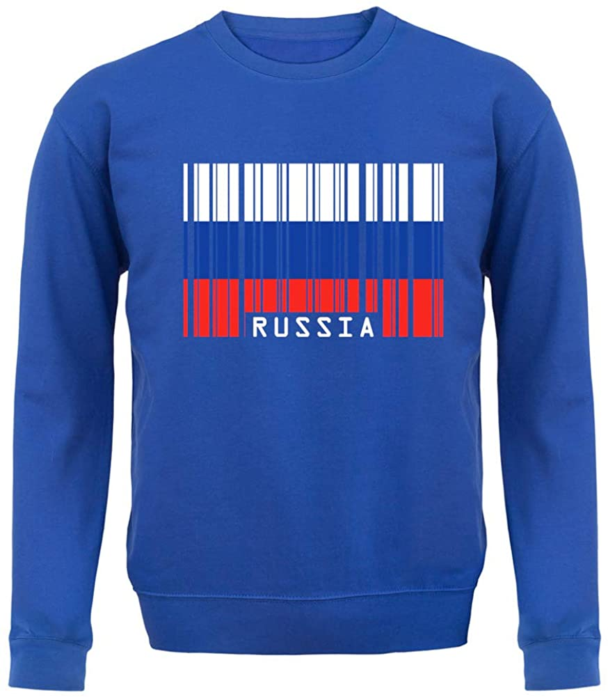 Russia Barcode Style Flag - Unisex Crewneck Sweater/Jumper