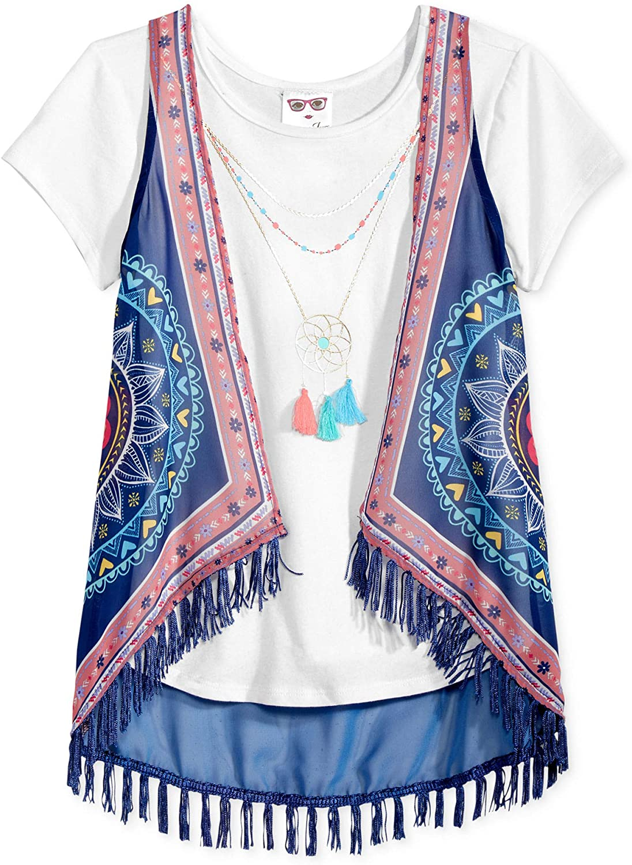 Belle du Jour Girls 2-Pc. Hanky Vest & T-Shirt Set