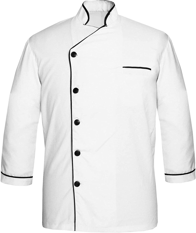White vend PN-52 Men's White Chef Jacket Piping in Multi Colour Chef Coat