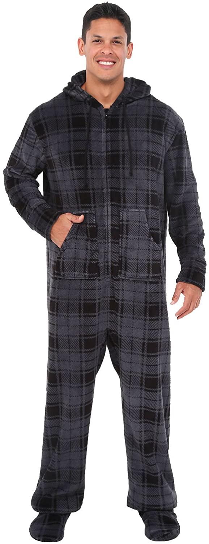 Alexander Del Rossa Men's Warm Fleece One Piece Footed Pajamas, Adult Onesie with Hood