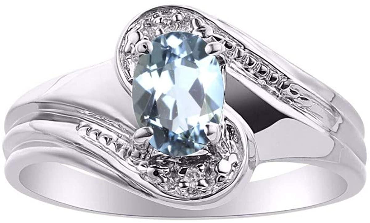 RYLOS Simply Elegant Beautiful Aquamarine & Diamond Ring - March Birthstone