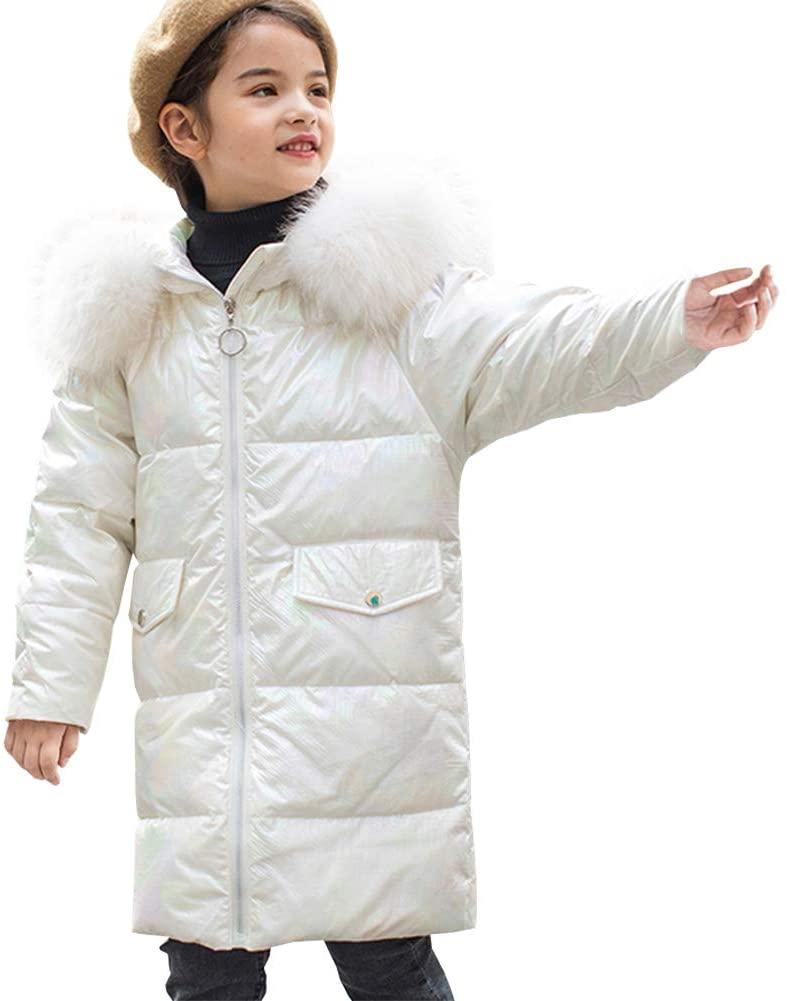 Kids Puffer Jacket Winter Coats Cute Fur Hooded Long Lightweight Down Jacket for Girls