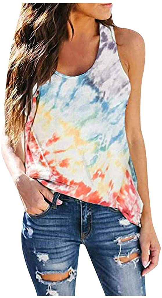 UOKNICE BLOUSE Womens Summer Sleeveless O-Neck Sunflower Tie-Dye Solid Color Casual Swing Shirts Loose Flowy Tank Tops