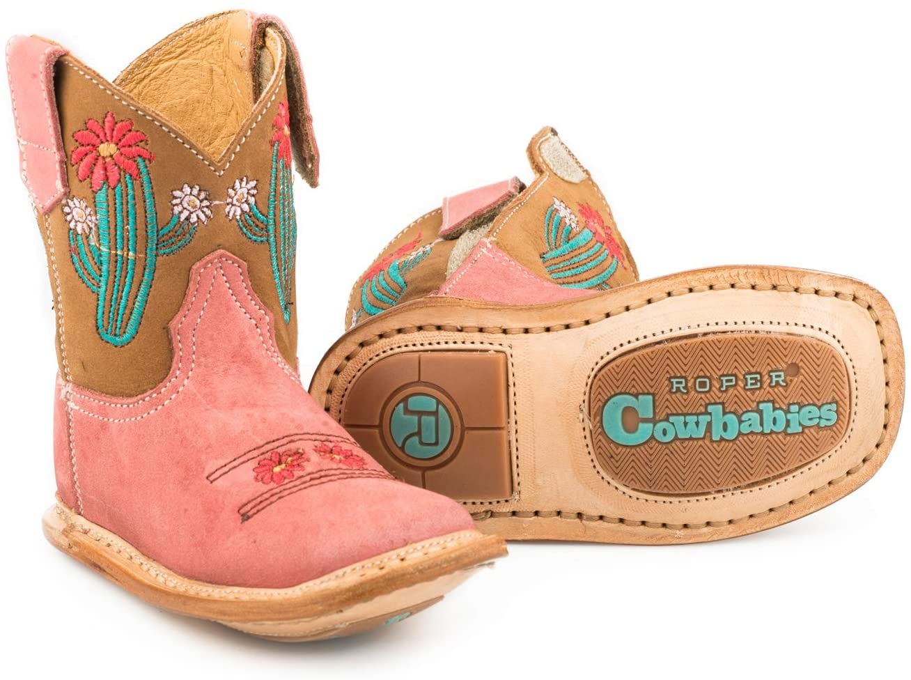 Roper Infant-Girls' Cow Cactus Western Boot Square Toe Tan 4 D