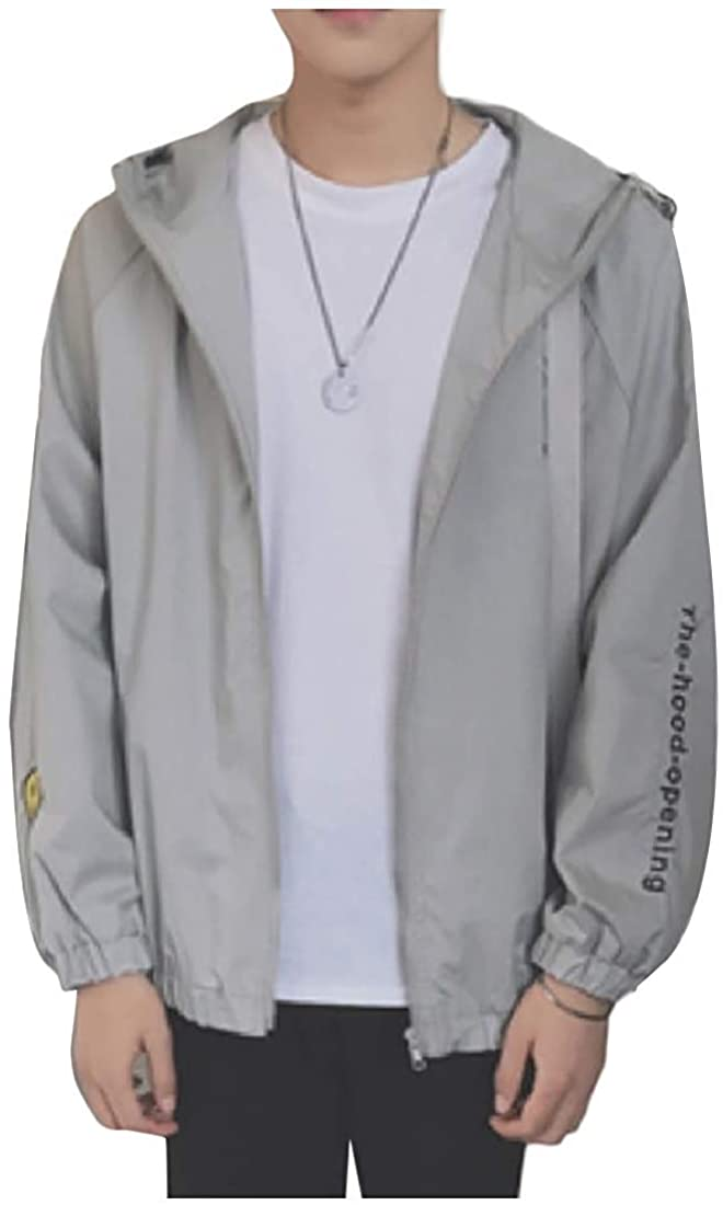 Wndxfhdscd Men Luxury Loose-Fit Casual Hooded Zip-Front Embroidery Jacket Coats
