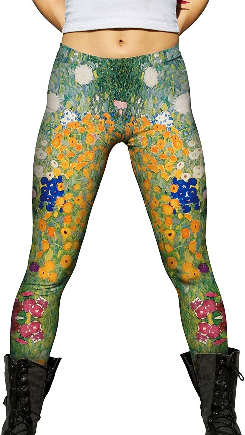 Yizzam- Gustav Klimt -Flower Garden (1907) -New Ladies Womens Leggings
