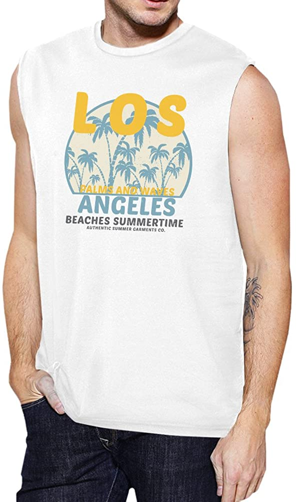Los Angeles Beaches Mens White Vintage Design Muscle Tee Cotton