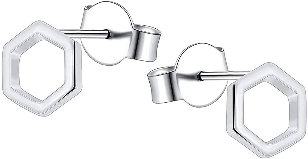 AoedeJ Geometric Earrings Sterling Silver Minimalism Stud Earrings Small Circle Hexagon Earrings CZ