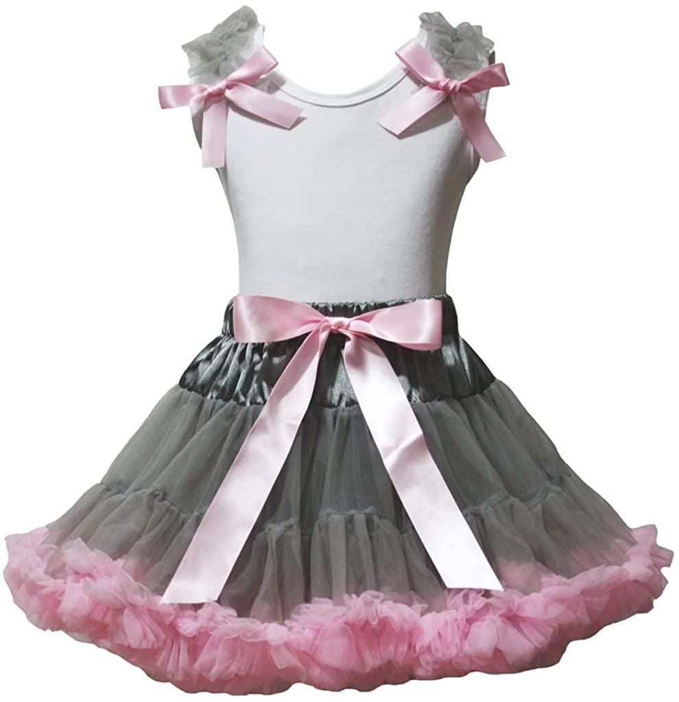 Petitebella Plain White Shirt Gray Pink Petal Skirt Nb-8y