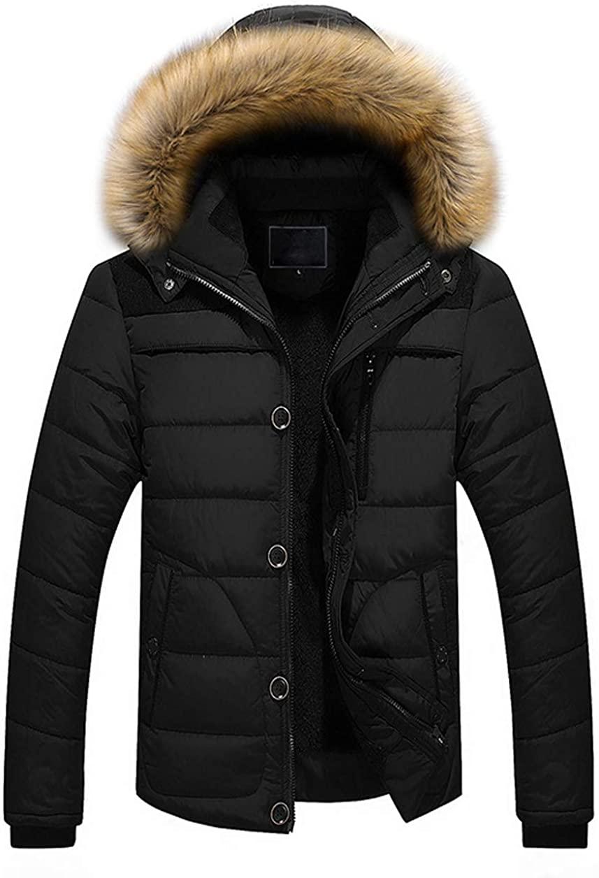 chouyatou Men's Winter Windproof Fur Hood Full Zip Alternative Down Parka Jacket