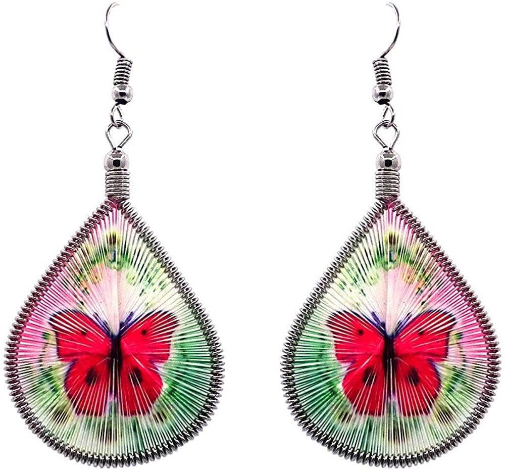 Mia Jewel Shop Butterfly Animal Graphic Teardrop Thread Dangle Earrings