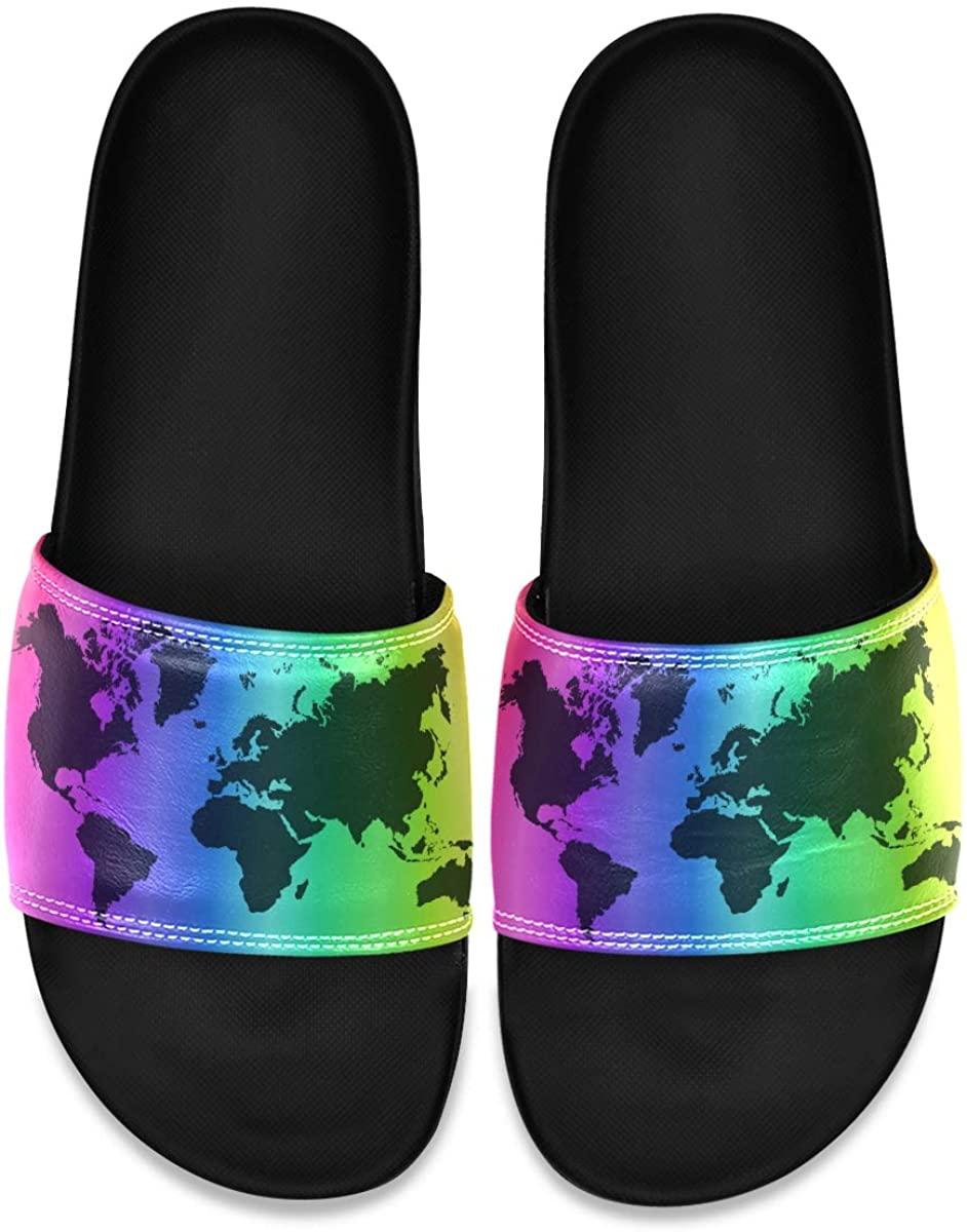 Rainbow World Map Fearless Mens Leather Slide Sandals Summer House Slippers Beach Boys