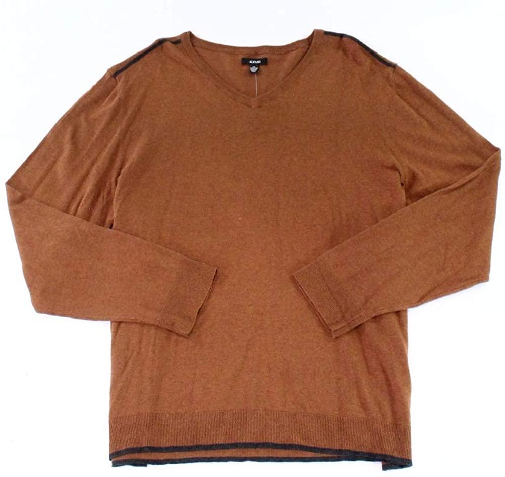 Alfani Mens Sweater Brown Stripe Shoulder V-Neck Pullover Gray 3XL