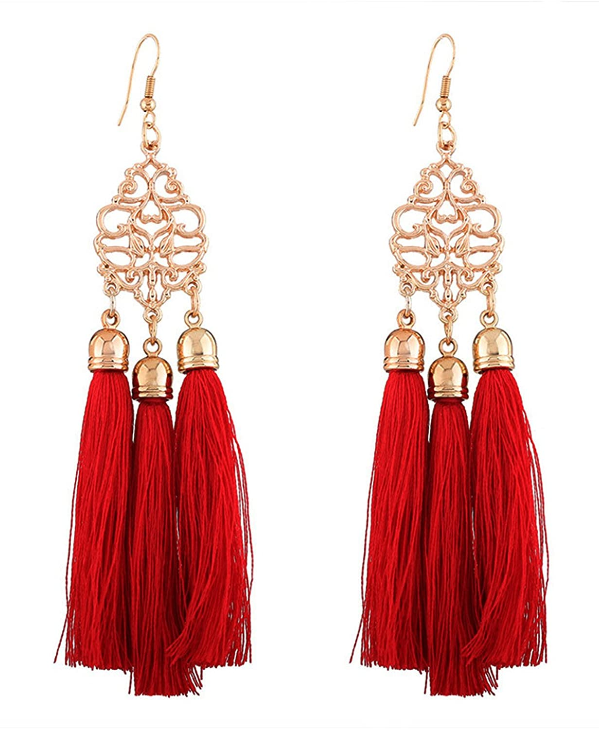 Young & Forever diwali gifts for family and friends boho gypsy gold red tassel dangler earring for girls stylish latest for wedding party wear simple fancy design western trendy statement long earrings for women