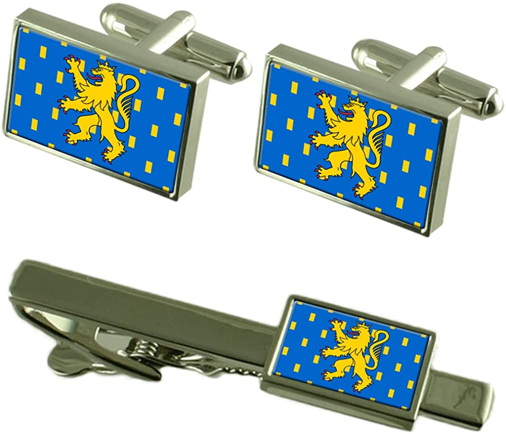 Franche-Comte Province France Flag Cufflinks Tie Clip Box Gift Set