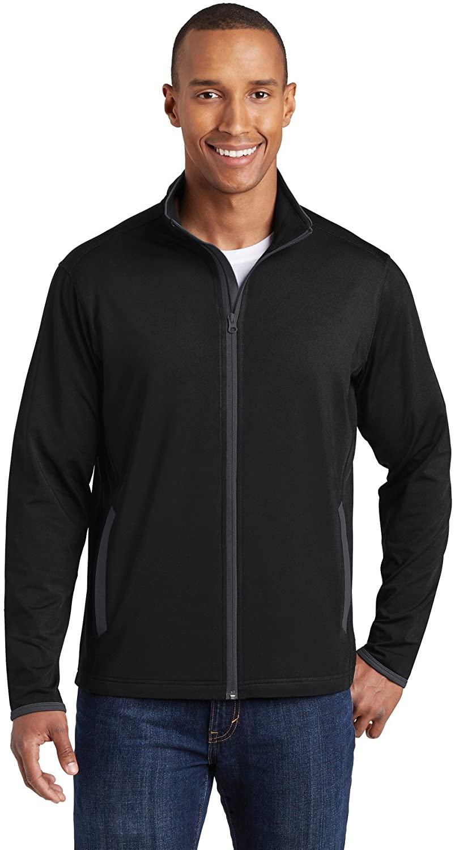 Sport-Tek Sport-Wick Stretch Contrast Full-Zip Jacket. ST853 Black/ Charcoal Grey XS
