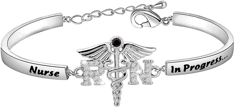 CHOORO Nurse in Progress Student Nurse Zircon Bracelet Nursing Student Jewelry Future Nurse Gift Nurse Graduation Jewelry