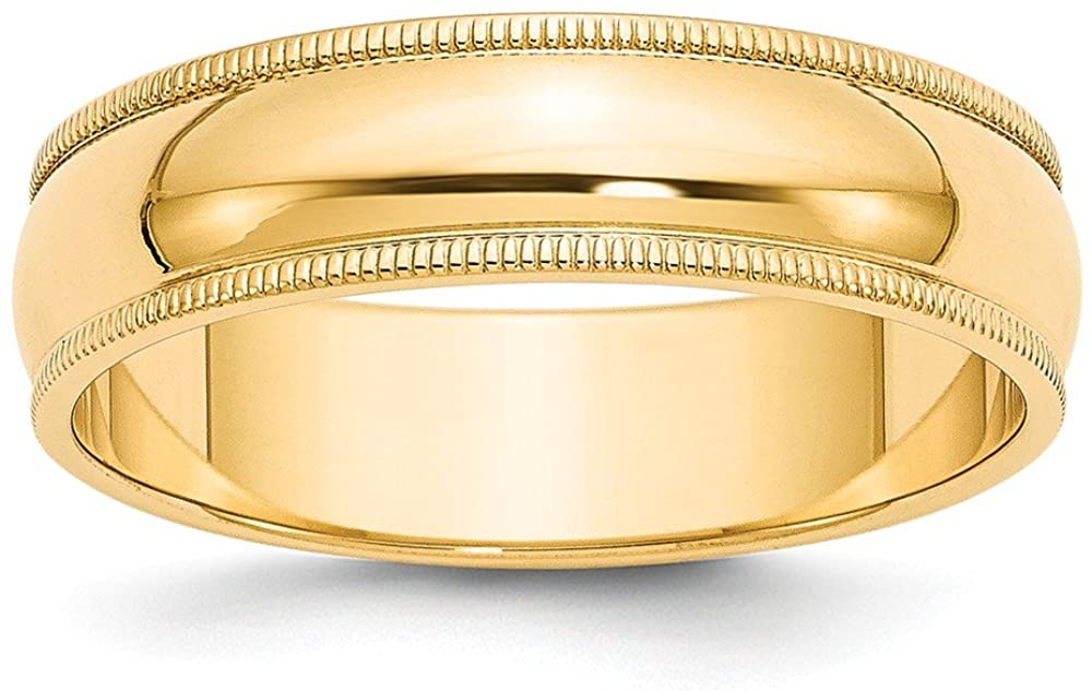 925 Sterling Silver Yellow Gold-Plated 6mm Plain Classic Dome Milgrain Wedding Band Ring