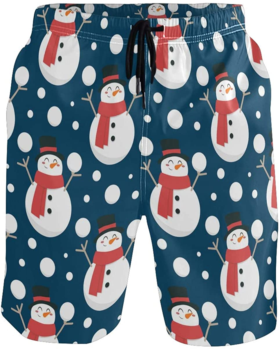 Mens Swim Trunks Quick Dry Snowman Christmas New Year Summer