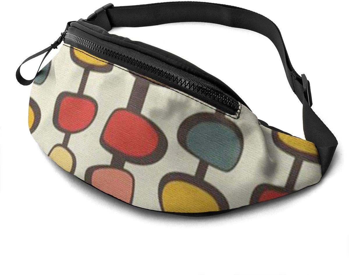 Mid Century Modern Fanny Pack For Men Women Waist Pack Bag With Headphone Jack And Zipper Pockets Adjustable Straps