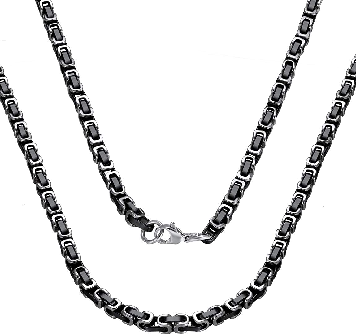 ChainsPro Men Sturdy Byzantine Chain, 4/6/8/10mm Width, Polished 316L Stainless Steel & 18K Real Gold Plated, Black, 18 inch-30 inch (Send Gift Box)