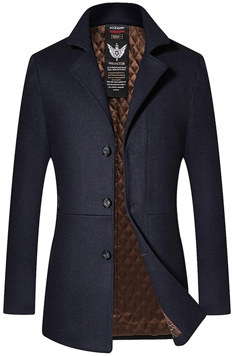 JEWOSOR Men's Woolen Trench Coat Long Fashion Slim Fit Winter Overcoat Single Breasted Outwear Parka