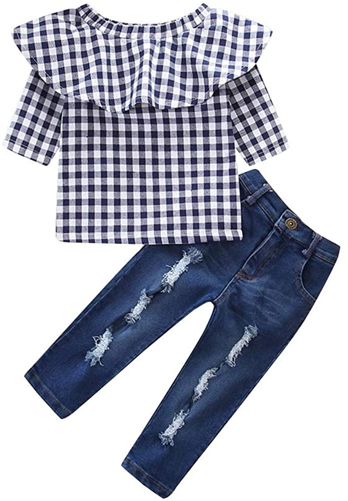 YDuoDuo 1-7T Fall Outfits for Baby Toddler Little Girls Ruffle Plaid Off Shoulder Shirt Ripped Jeans Denim Pants Clothes Sets
