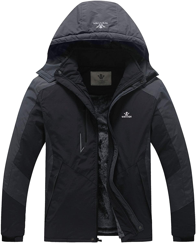 WenVen Men's Waterproof Ski Jacket Windproof Fleece Liner Insulated Rain Coat