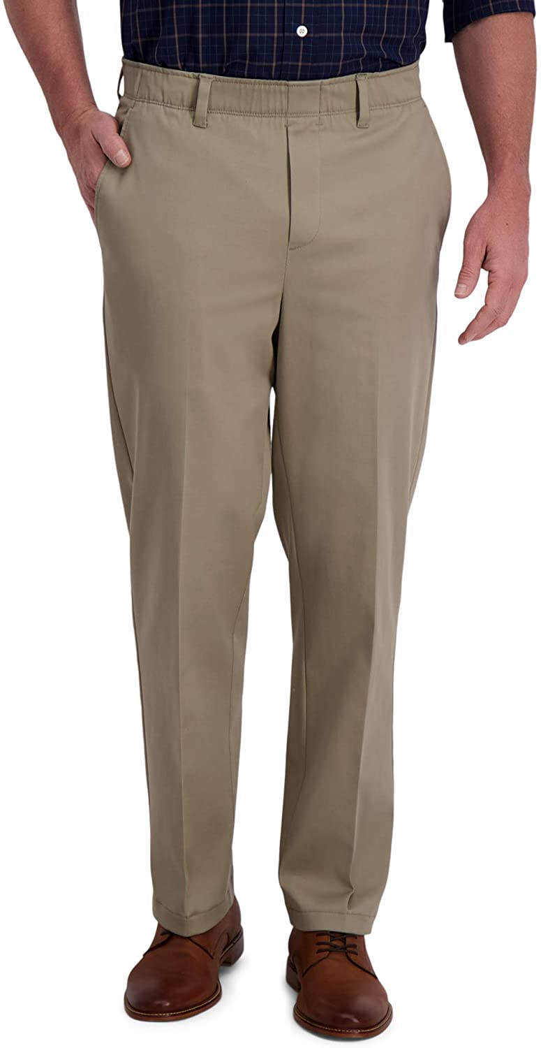 Haggar Men's Free No Iron Classic Fit Flat Front Full Elastic Pant