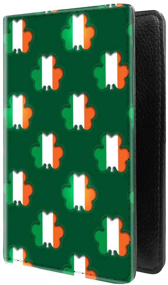 PU Leather Passport Holder Travel Wallet RFID Blocking Card Case Cover With Unique Pattern (Shamrocks showing the Irish flag beneath £
