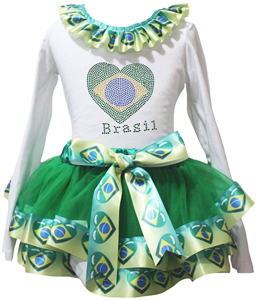 Petitebella Brazil Heart White L/s Shirt Nation Flags Petal Skirt Set Nb-8y