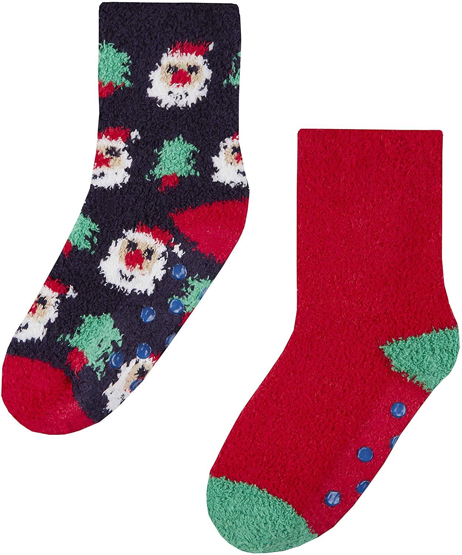 Childrens 2 Pack of Cosy Christmas Slipper Socks