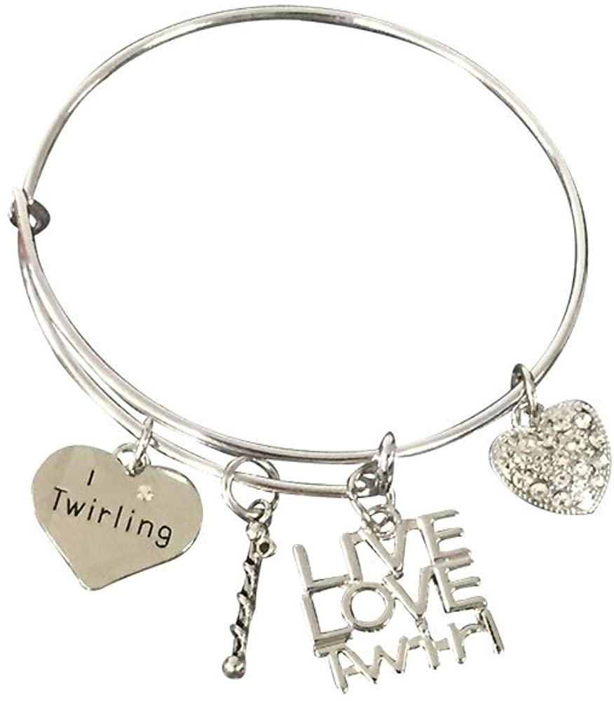 Infinity Collection Twirling Charm Bangle Bracelet- Twirling Jewelry - Live Love Twirl- Majorette Bracelet for Baton Twirler