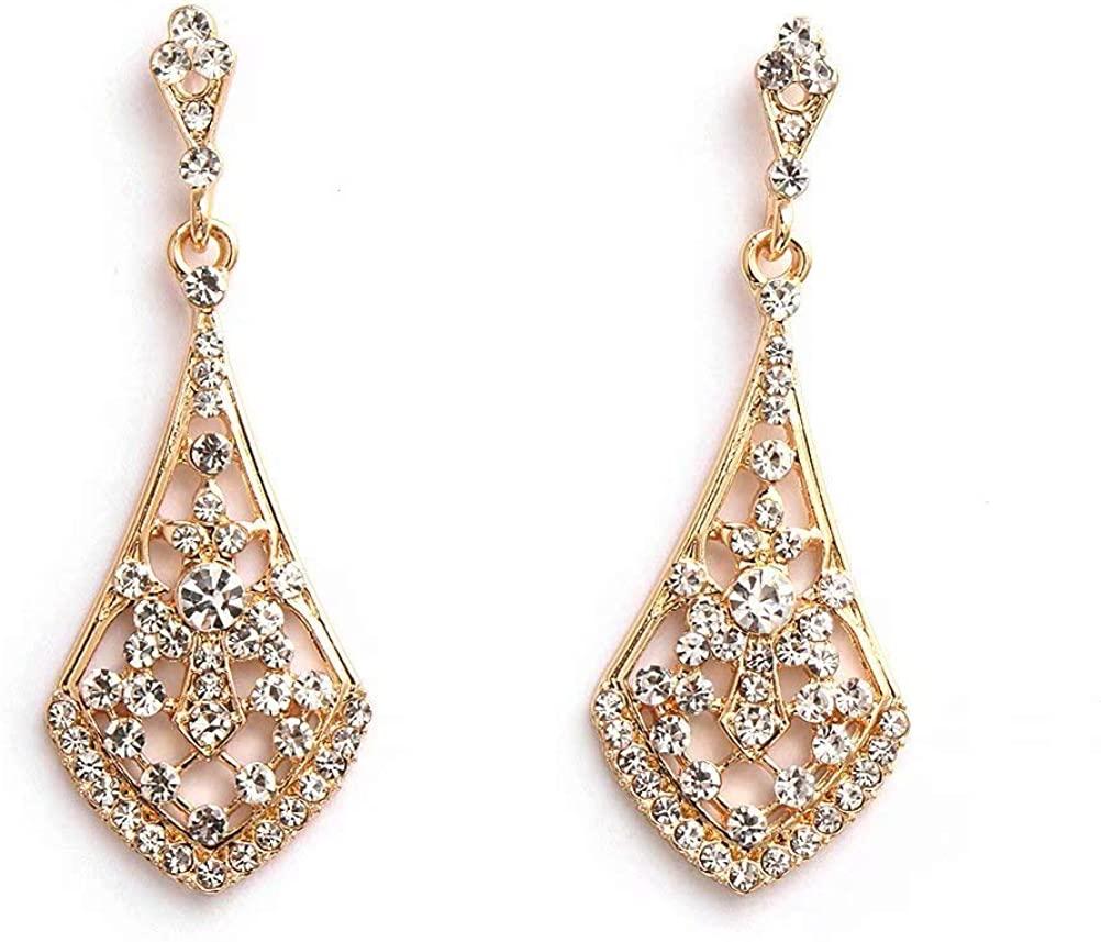 FIDDY898 Cubic Zirconia Austrian Crystal Drop Earrings Bridal Triangle Chandelier Earings