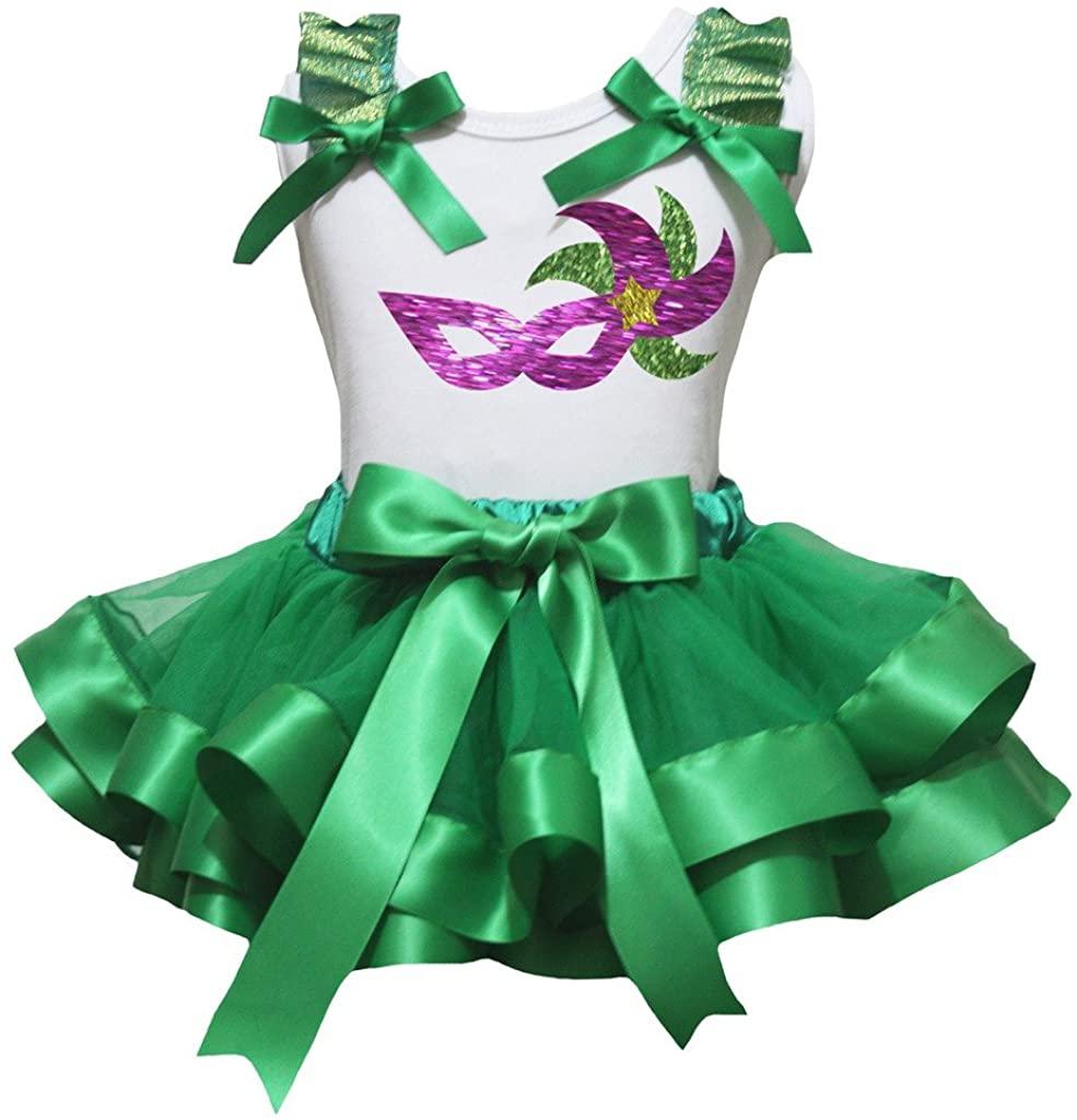 Petitebella Mardi Gras Mask White Shirt Green Petal Skirt Set Nb-8y