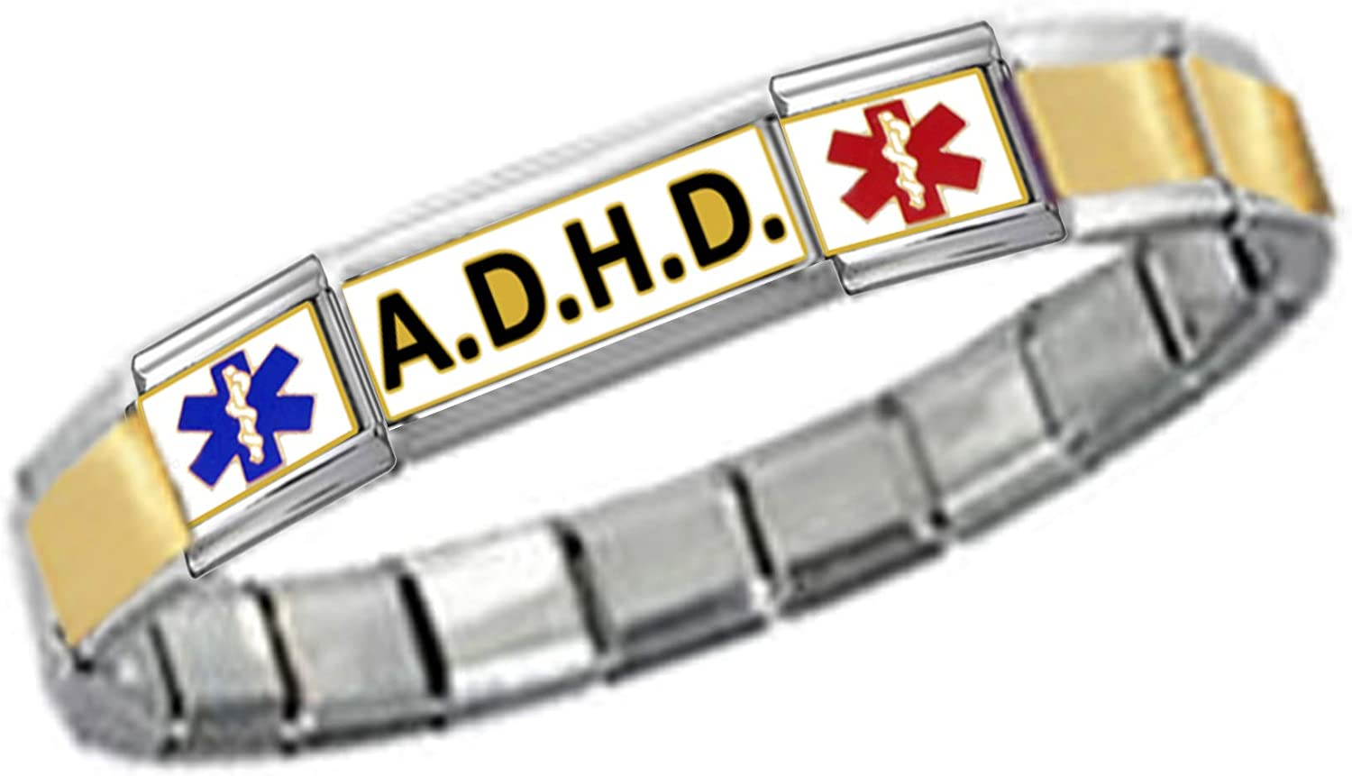 Stylysh Charms ADHD ID 9mm Link Gold Tone Matte Ctr Bracelet