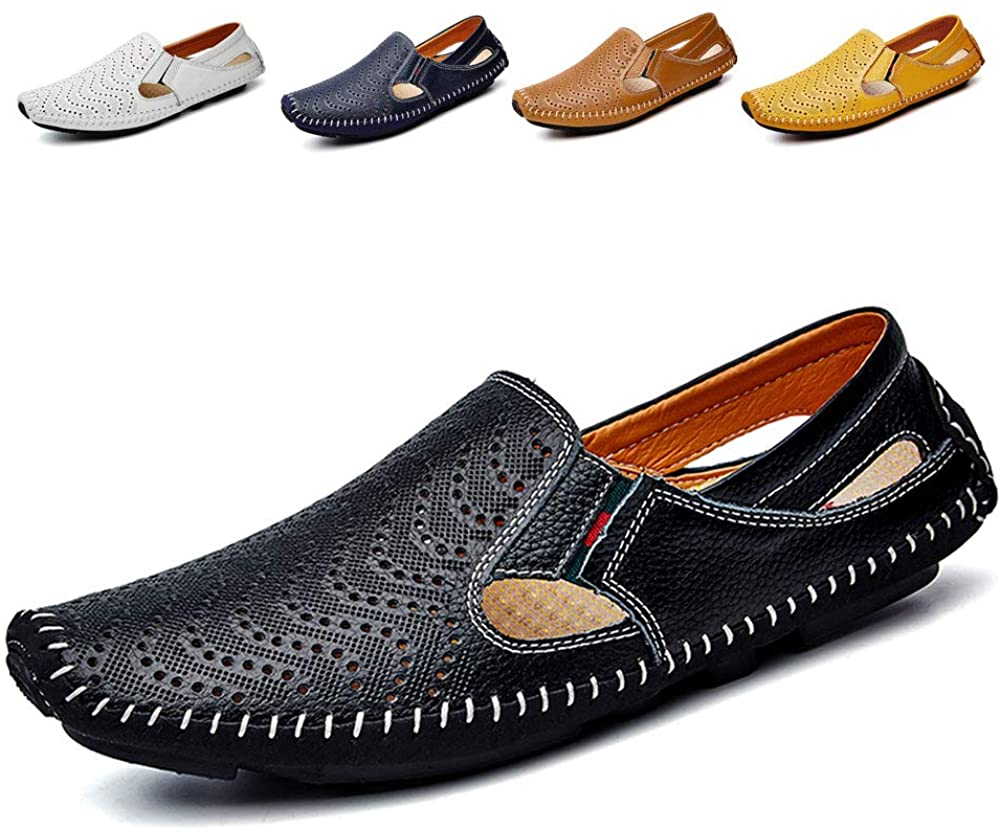Noblespirit Men's Driving Shoes Leather Fashion Slipper Casual Slip on Loafers Shoes in Summer