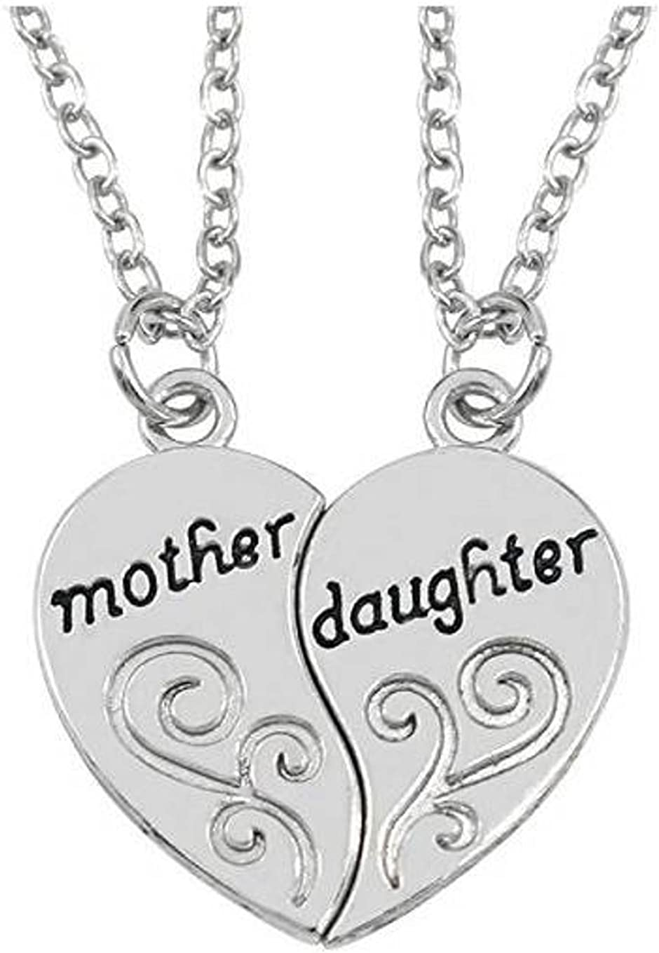 Mother Daughter Inspirational 2-piece Heart Pendant Necklace Set - Best Family Gift from Adorit Brand