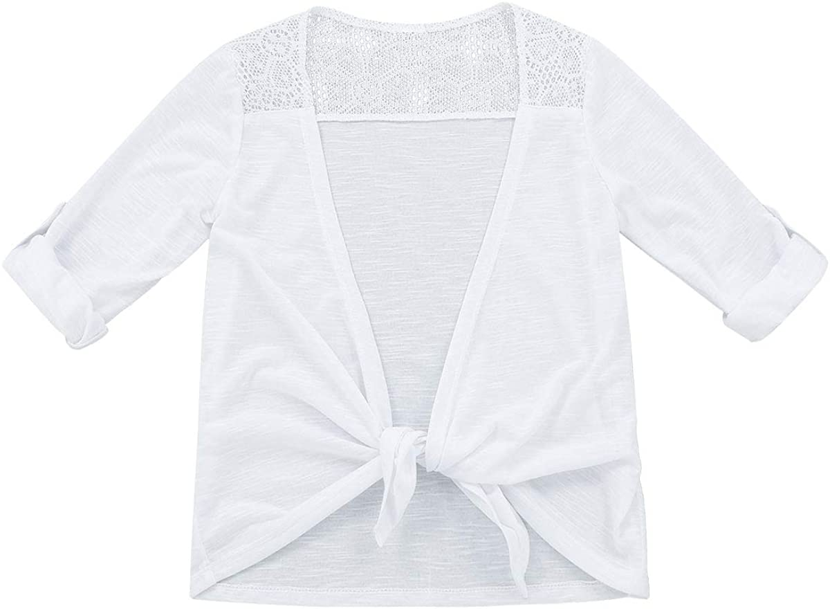 Freebily Little Young Girls' Roll-up Sleeves Top with Tie-Front Lace Back Splice Cardigan Birthday Party Wear
