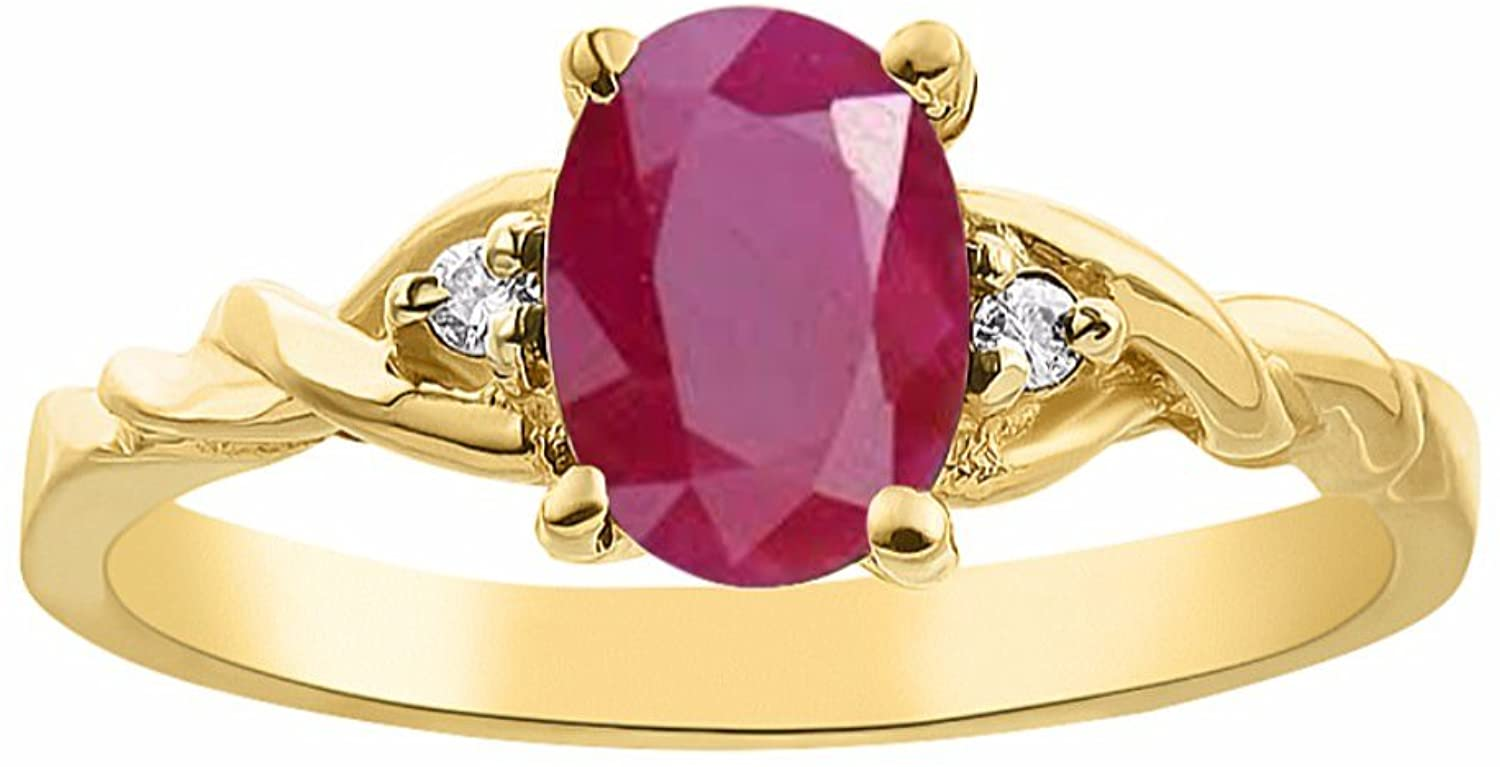 Diamond & Ruby Ring Set In 14K Yellow Gold Solitaire