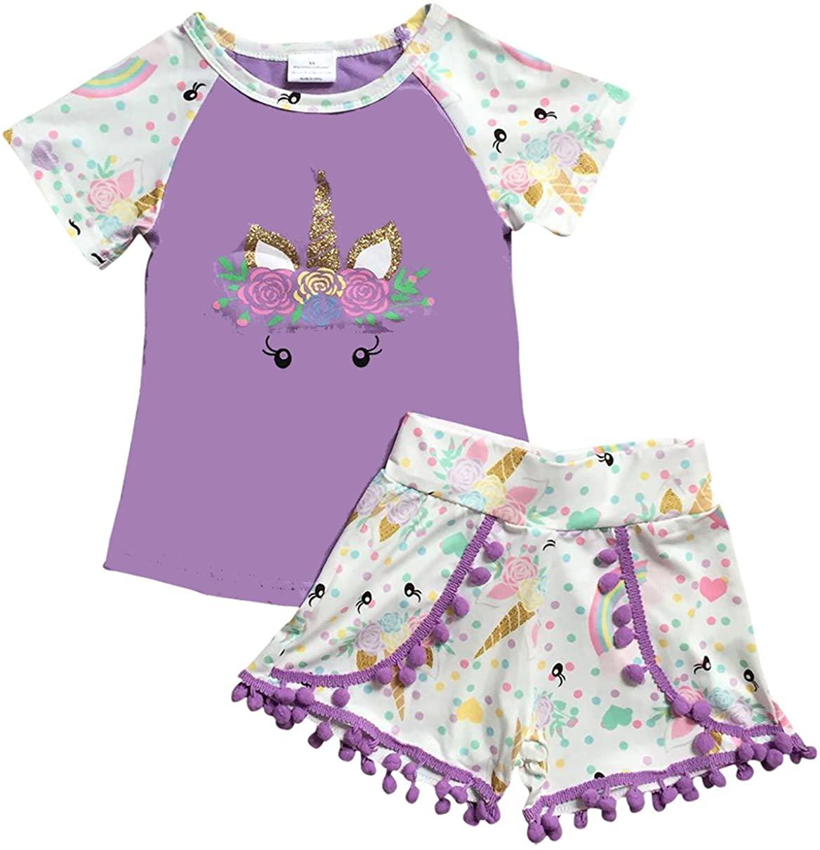 Unicorn Tee Pompom Shorts Set 2 Pieces Combo Pajama 2t-8